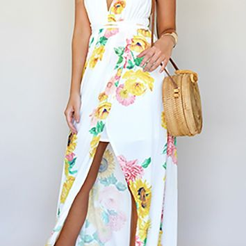 Blooming Romance White Yellow Pink Green Floral Spaghetti Strap Sleeveless V Neckline X Back Wrap Slit Casual Maxi Dress