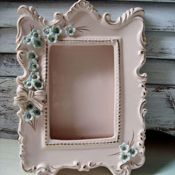 Vintage Ceramic Pink Frame with Flowers and Faux Rhinestones, Light Pink Picture Frame, Cottage Chic Frame, Mid Century