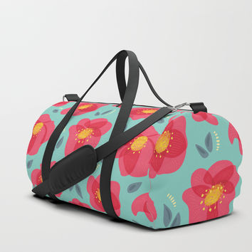 Pretty Flowers With Bright Pink Petals On Blue Duffle Bag by borianagiormova