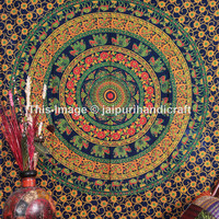 Elephant Mandala Tapestry, Table Runner Cotton Bed Sheet, Indian Tapestry, Camel Tapestry, Twin Size Tapestry Throw Etchnic Decor Art
