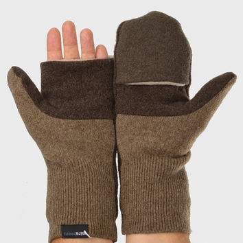 Men's Convertible Mittens in Cappuccino Brown - Recycled Wool - Fleece Lined