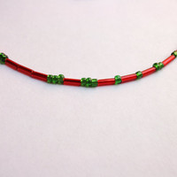 """Morse code """"I love Italy"""" in Red dash and Green dot, Handcrafted in Venice, Italy"""