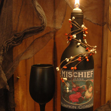 Mischief Wine Bottle and Wine Glass Halloween Decor