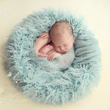 cheap circle Pure wool fur blanket Newborn props infant basket filler stuffer photo baby Photography backdrops background fleece