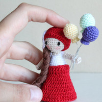 Malka Doll: A Tiny Girl with Balloons (crochet; handmade; amigurumi)