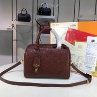 KUYOU L082 Louis Vuitton LV Speedy Empreinte Leather Handbag 25-19-17CM Brown Red