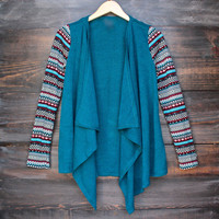 womens lightweight open front cascading cardigan with print sleeves - teal