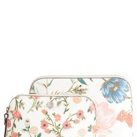 kate spade new york cameron street blossom briley set of 2 coated canvas cosmetic cases | Nordstrom