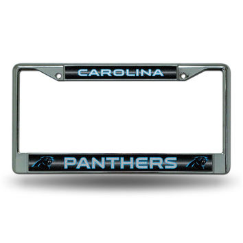 Carolina Panthers NFL Bling Glitter Chrome License Plate Frame
