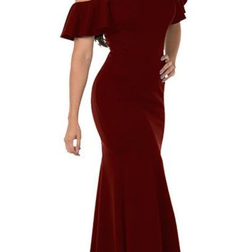 Cold-Shoulder V-Neck Mermaid Long Prom Dress Burgundy