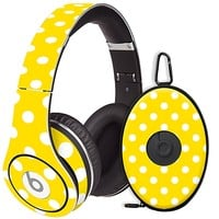 White Polka Dot on Sunshine Skin  for the Beats Studio Headphones & Case by skinzy.com