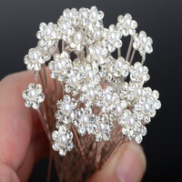 20Pcs Wedding Bridal Pearl Flower Crystal Hair Pins Clips Bridesmaid (Size: 20, Color: Silver) = 5658554305