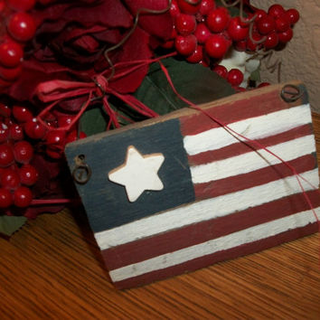 Rustic Folk Art American Flag Ornament Red White Blue Hand Painted USA Patriotic Home Decor
