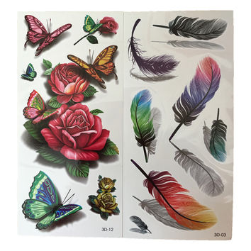 2pcs Colorful Small Feathers Flower Fake Tattoo Paste For Women Body Tattoo Sleeve Transfer Waterproof Temporary Tatoos Sticker