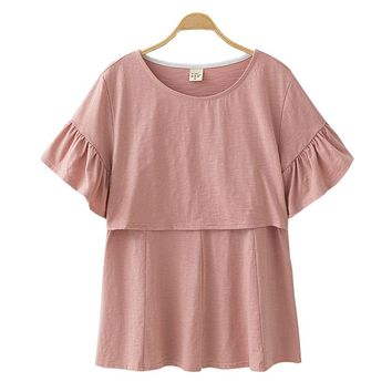 Nursing Tops Maternity Clothes Pregnancy Clothing Breast Feeding Maternity T-shirt