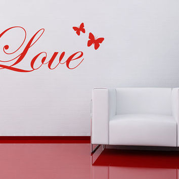 Love and butterflies wall art sticker decal by 60SecondMakeover