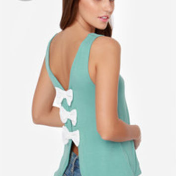 LULUS Exclusive Bows in a Row Seafoam Tank Top