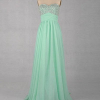 A-line Sweetheart Sleeveless Floor-length Chiffon Beaded Prom Dresses