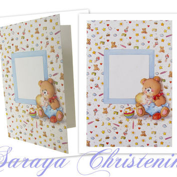 Baby Boy Christening Invitation, Baby Boy Baptism Invitation, Baby Boy Shower Invitation Card, Teddy Bear Invitation