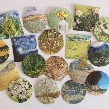 Van Gogh Impressionist Art Stickers, Landscape Seal Stickers, Wedding/Party Favour, Gift Wrapping, Happy Post And Mail, Art Lover Stickers
