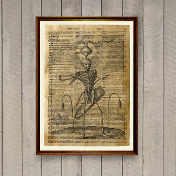 Odd print Skeleton poster Occult poster Dictionary page WA871