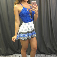 Lace Up Border Printed Romper (more colors) - FINAL SALE