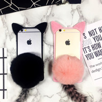 Super Cute Furry Cat Tail Case Cover for iPhone 5se 5s 6 6s plus