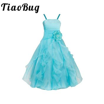 TiaoBug 2017 Embroidered Bridesmaid Dresses Flower Bow Formal Pageant Party Dress Girls Appliques Ruched Evening Prom Ball Gown