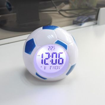 Digital Backlight LED Soccer Alarm Clock with Temperature Display & Snooze Control