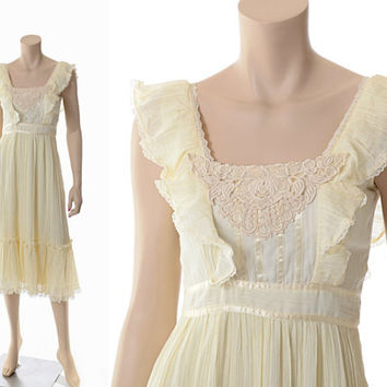 Vintage 70s Gunne Sax Gauze Blend Dress 1970s Ivory Hippie Pinafore Festival Prairie Sundress Apron Dress / XS / Small