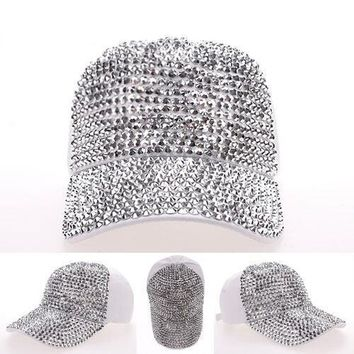 Hip Hop Rhinestone Drill pearls Full eaves jean baseball cap travel sun visor ladies women hat snapback peaked cap