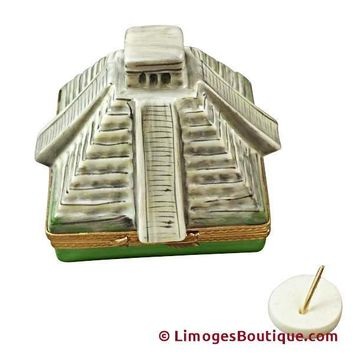 MAYAN PYRAMID WITH REMOVABLE SUNDIAL LIMOGES BOX