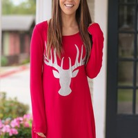 Christmas Deer Head Print Women Casual Round Neck Long Sleeve Mini Dress