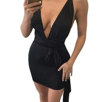 CUPUP9G Black Multi-wear Open Back Club Cocktail Party Mini Dress