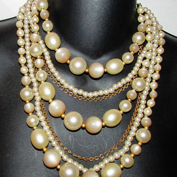 Faux Pearl 7 Strand Chandelier Necklace - 1960's Vintage - Sophisticated - Great Condition