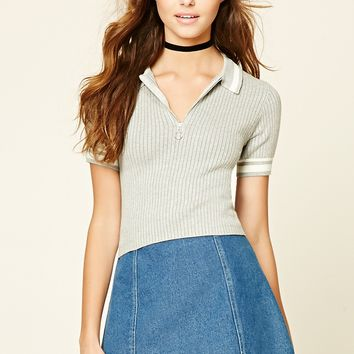 Contrast-Trim Ribbed Tee