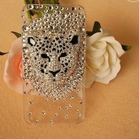 New Chic Luxury Bling Leopard Head Rhinestones Mobile Cell Phone Case for iPhone 4s 5s 6 Plus Samsung - Casemoda | Pinkoi