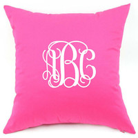 Vinyl Monogrammed Pillow Case/ Cover with Optional Pillow Insert 18 inch x 18 inch