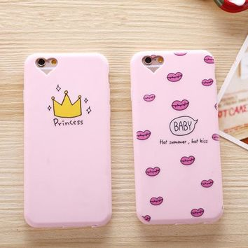 Case for iphone 6 Plus iphone 7 plus 8 Soft Pink Kiss Princess Luxury Silicon Cover for iphone 6S iphone 8 Plus 7 Pretty Crown