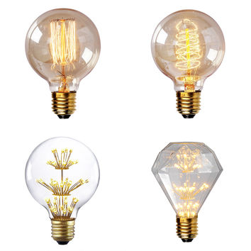 Incandescent Light ST64 G80 G95 G125 Antique Retro Vintage Edison Bulb 220V E27 40W decorative light home lighting