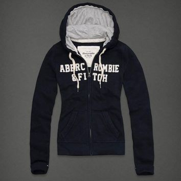 Abercrombie & Fitch Women Fashion Casual Cardigan Jacket Coat Hoodie-3