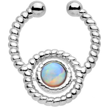 Iridescent Synthetic Opal Ion-plated Non-Pierced Clip On Septum Ring
