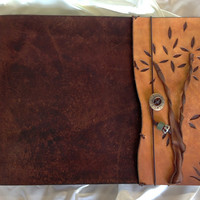 Large Refillable Twisted Tree SketchBook - Warm Brown, Leather Journal, Drawing Pad, Photo Album, Notebook, Guest Book, leather sketch book
