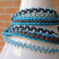 Multi Strand Bracelet in Blue and Brown