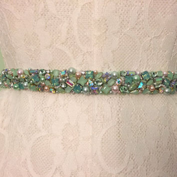 Iridescent Mint Green, Blush, Ivory Scattered Pearl and Crystal Embellished Beaded Bridal Sash Belt