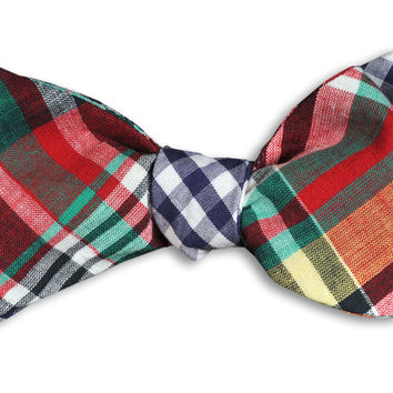 Jackson Reversible Bow Tie in Madras and Navy Gingham by High Cotton