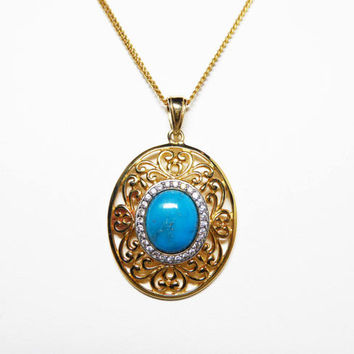 Turquoise & Sterling Silver Pendant Necklace-  Oval Turquoise and Clear CZ's - Gold Overlay - Heart Filigree Style - Vintage 1980s - 1990s
