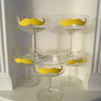 Mustache Glasses - Set of Five Yellow Dessert Stemmed Glasses - Housewares - Glassware - Home & Living