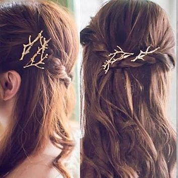 SALE   Yellow Gold or Silver Branch Twigs Hair Pin Wedding Barrette