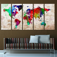 world map push pin with countries canvas print, push pin travel map wall art print, extra large wall art, interior decor t574